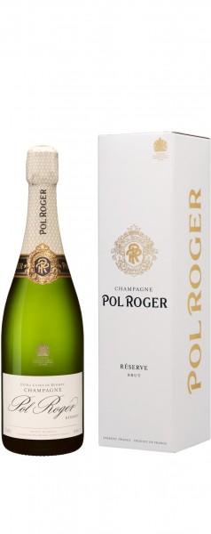 Champagne Pol Roger - Champagne Brut Réserve Blanc 'white foil' mit Etui Magnum