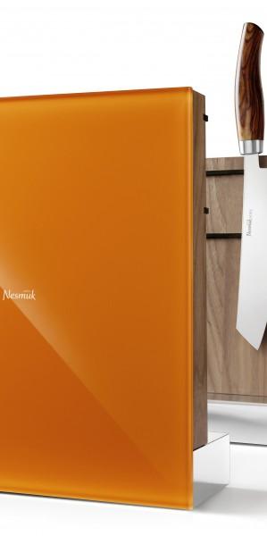 Nesmuk - Nesmuk Messerhalter, Walnussholz, Farbvariante Orange, Grau oder Weiss, ohne Messer