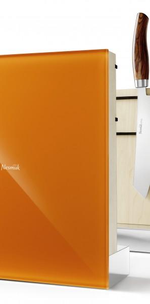 Nesmuk - Nesmuk Messerhalter, Ahornholz, Farbvariante Orange, Grau oder Weiss, ohne Messer